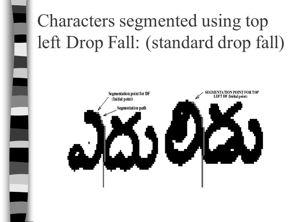 Characters segmented using top left Drop Fall: (standard drop fall)