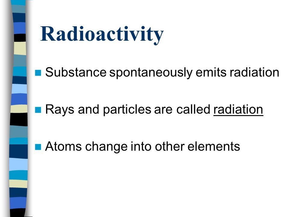 Radioactivity Substance spontaneously emits radiation