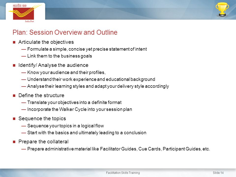 Plan: Session Overview and Outline