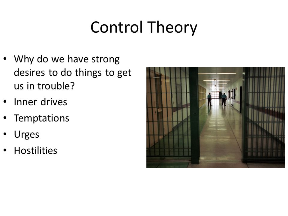 Control Theory Why do we have strong desires to do things to get us in trouble Inner drives. Temptations.