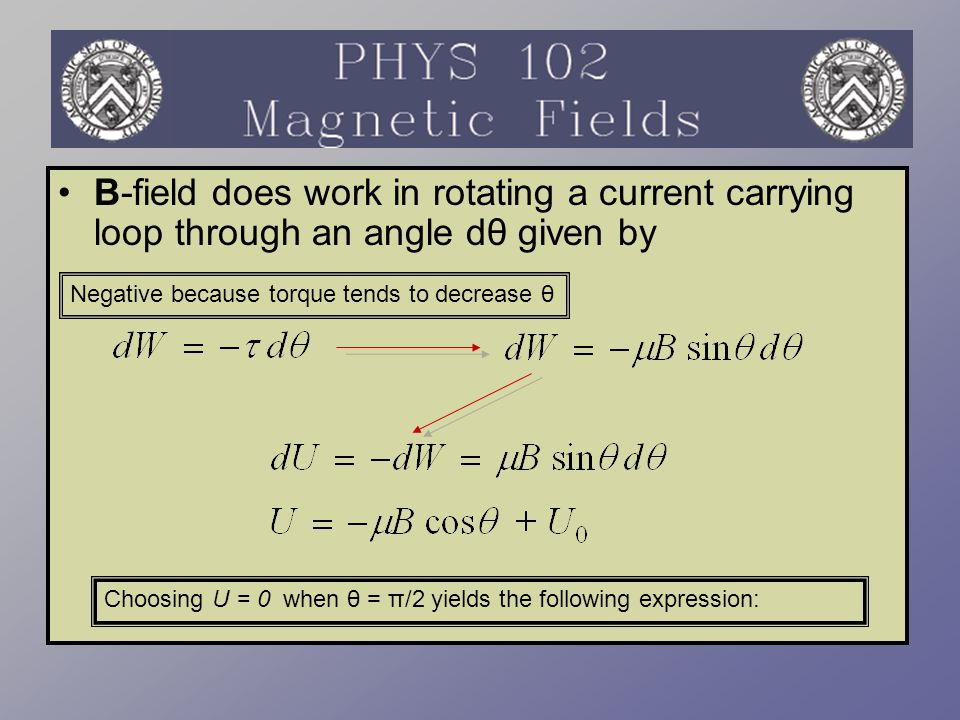 B-field does work in rotating a current carrying loop through an angle dθ given by