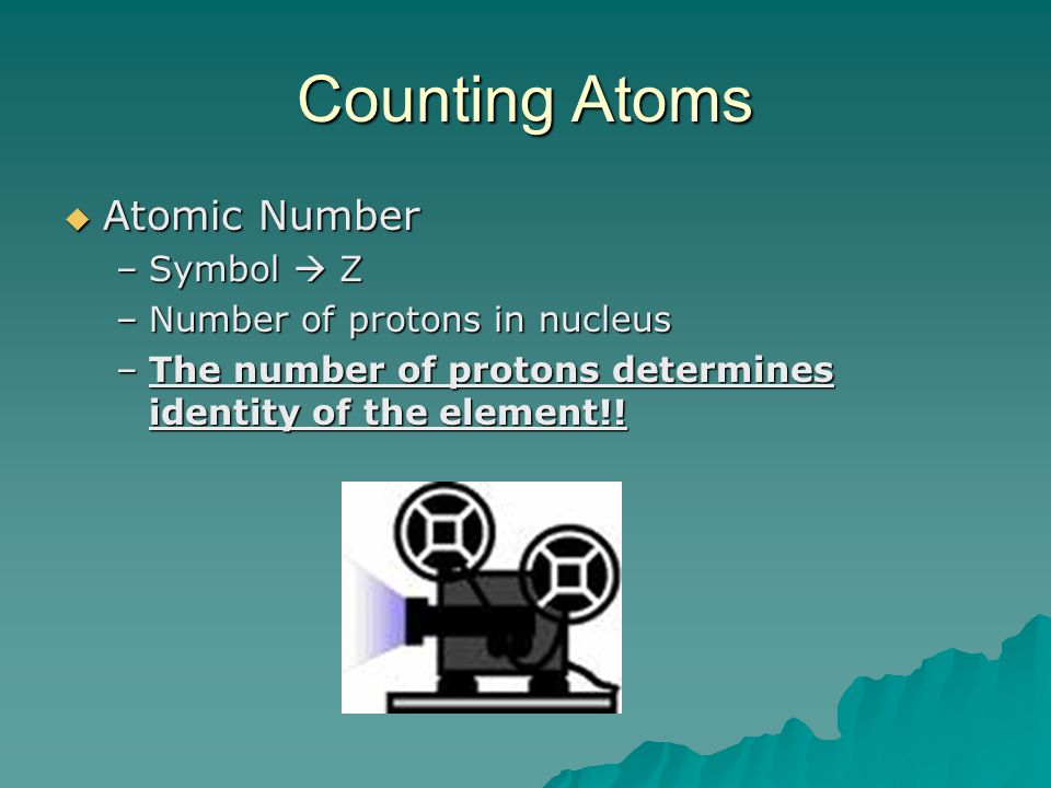 Counting Atoms Atomic Number Symbol  Z Number of protons in nucleus