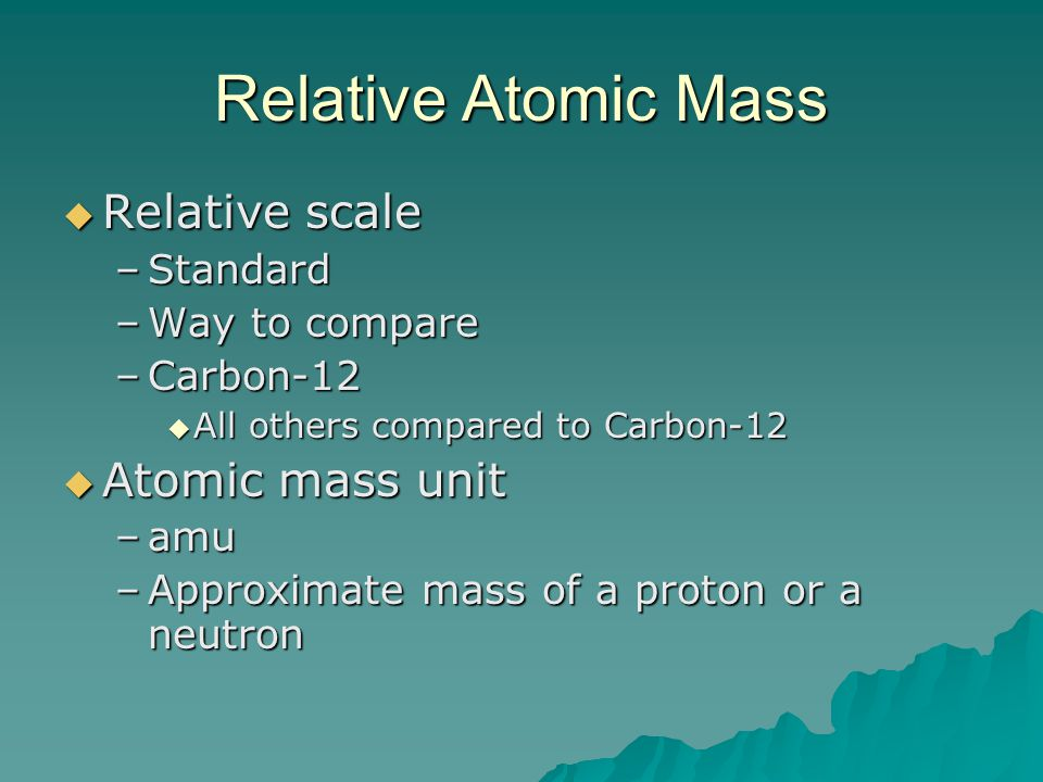 Relative Atomic Mass Relative scale Atomic mass unit Standard
