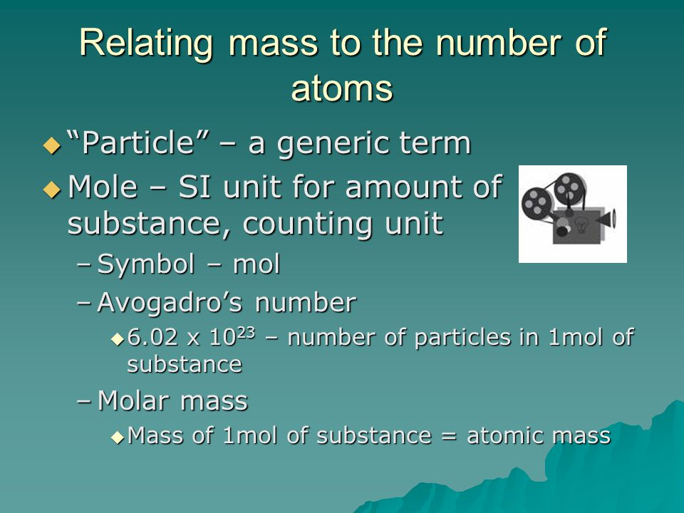 Relating mass to the number of atoms