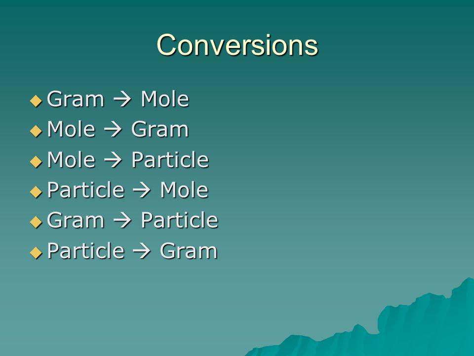 Conversions Gram  Mole Mole  Gram Mole  Particle Particle  Mole
