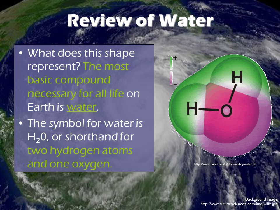 Review of Water What does this shape represent The most basic compound necessary for all life on Earth is water.