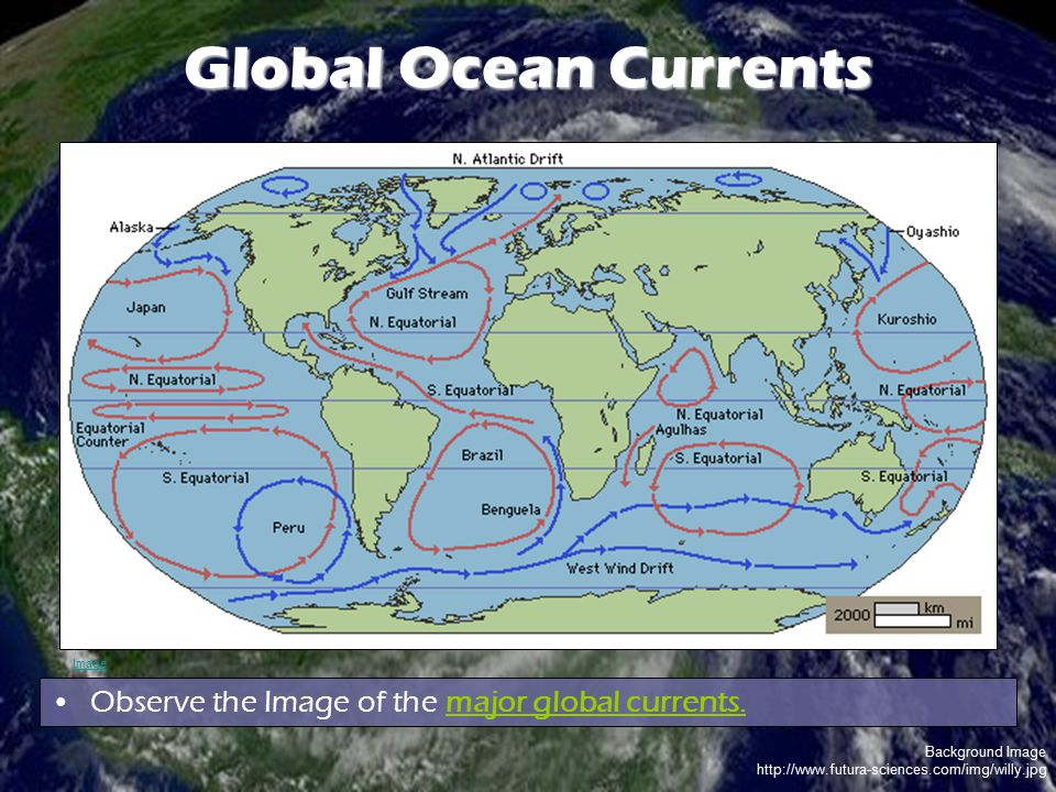 Global Ocean Currents Observe the Image of the major global currents.