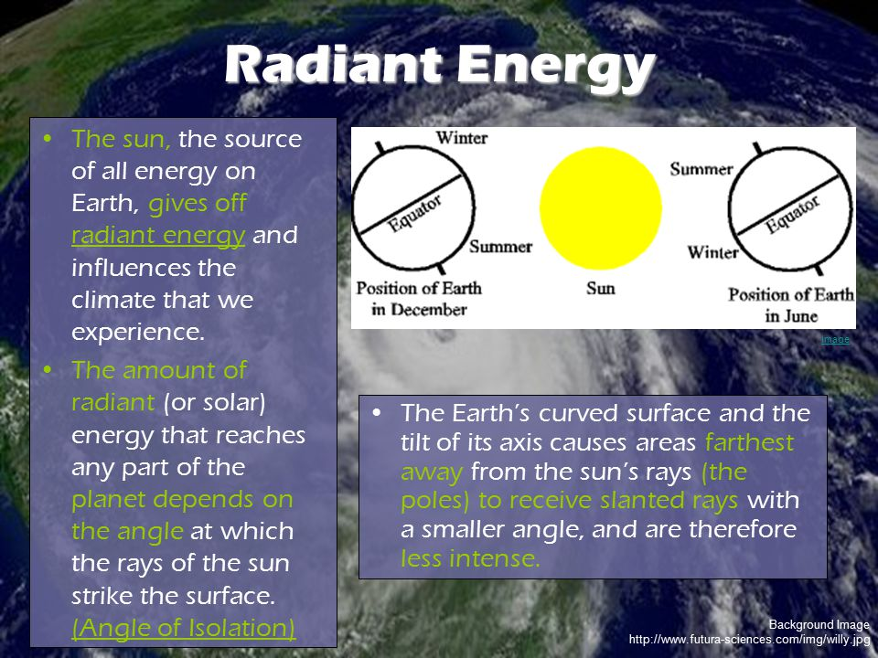 Radiant Energy The sun, the source of all energy on Earth, gives off radiant energy and influences the climate that we experience.