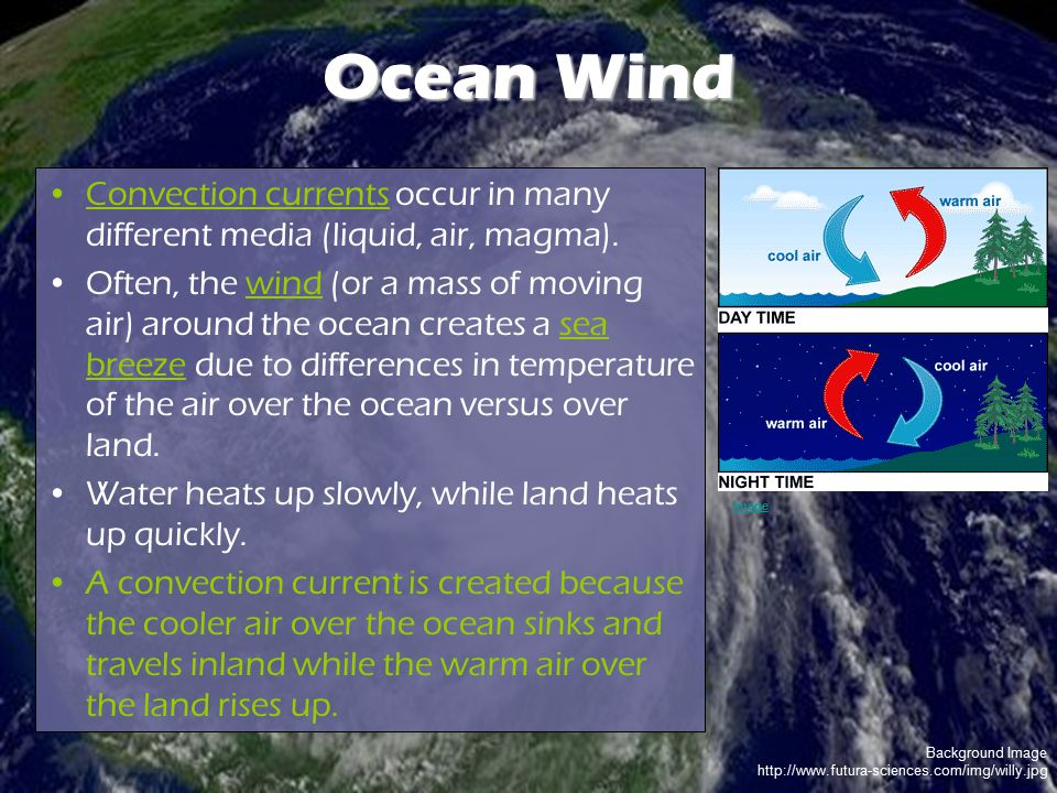 Ocean Wind Convection currents occur in many different media (liquid, air, magma).