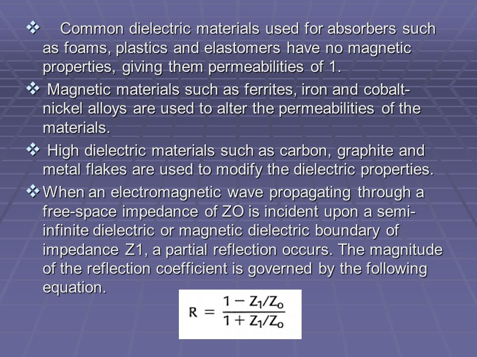 Common dielectric materials used for absorbers such as foams, plastics and elastomers have no magnetic properties, giving them permeabilities of 1.