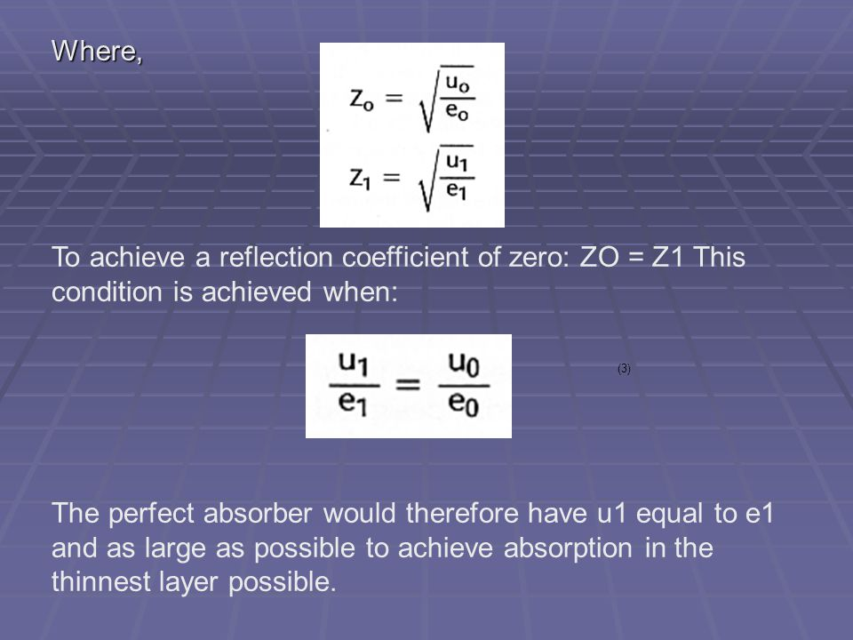 Where, To achieve a reflection coefficient of zero: ZO = Z1 This condition is achieved when: (3)
