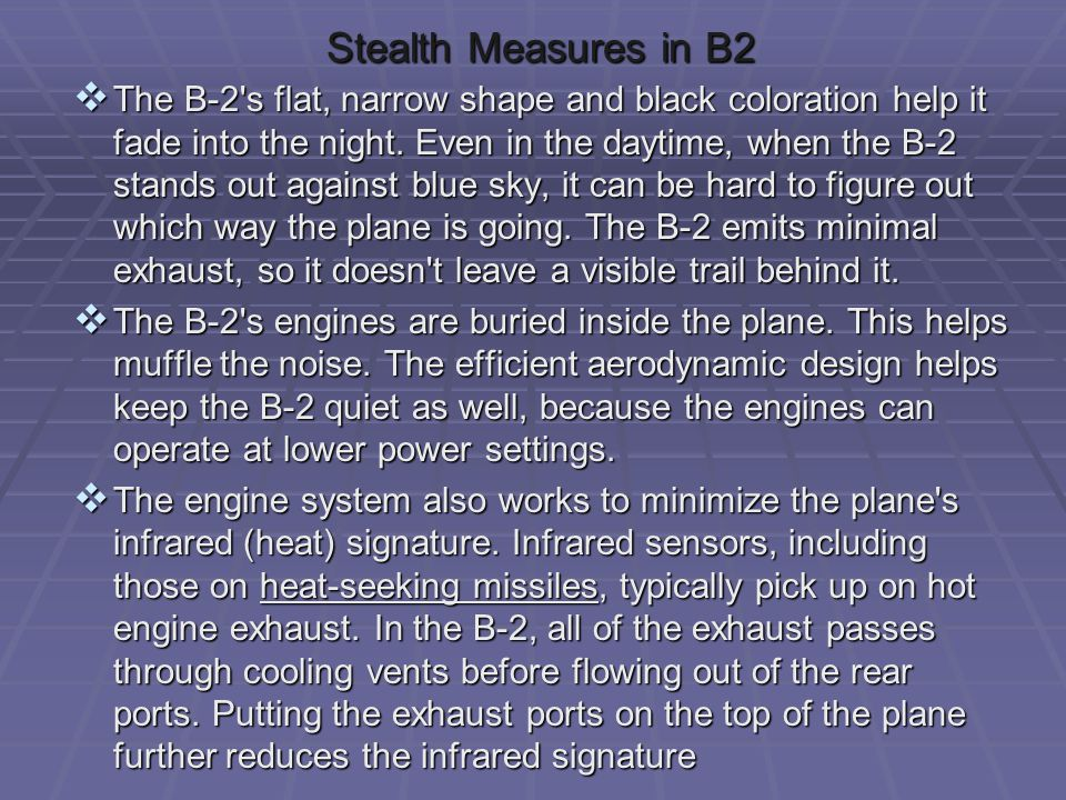 Stealth Measures in B2