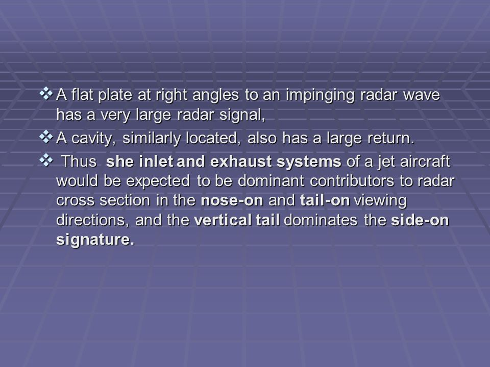 A flat plate at right angles to an impinging radar wave has a very large radar signal,
