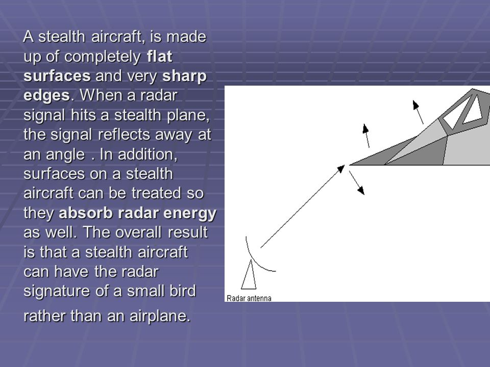 A stealth aircraft, is made up of completely flat surfaces and very sharp edges.