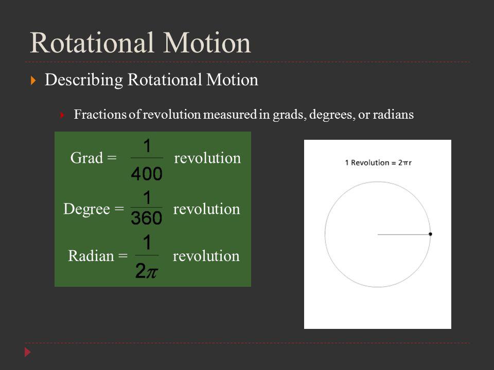 Rotational Motion Describing Rotational Motion Grad = revolution