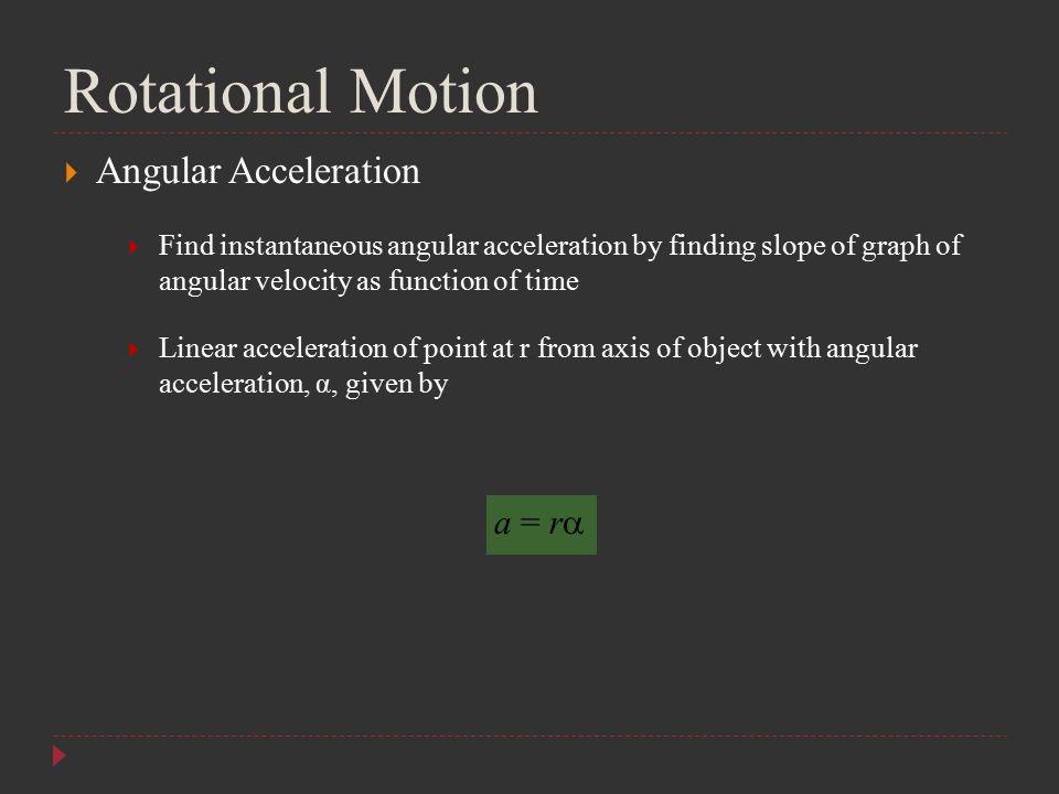 Rotational Motion Angular Acceleration a = r