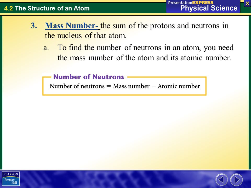 Mass Number- the sum of the protons and neutrons in the nucleus of that atom.