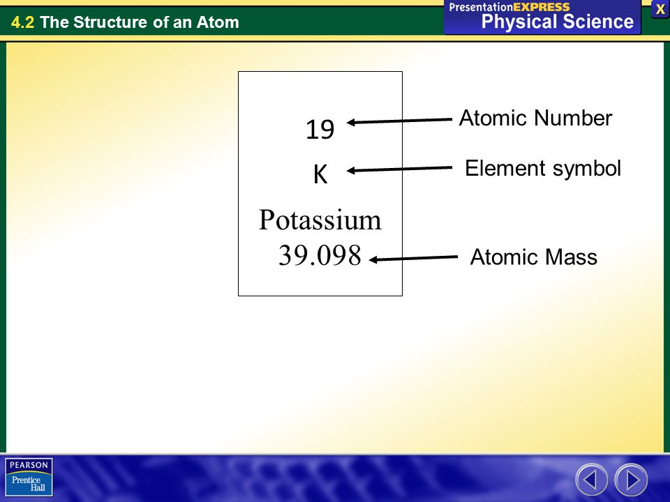 19 K Potassium 39.098 Atomic Number Element symbol Atomic Mass
