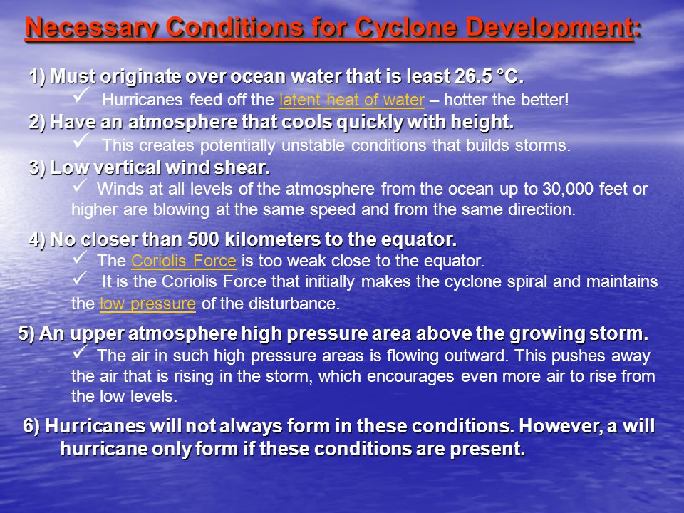 Necessary Conditions for Cyclone Development: