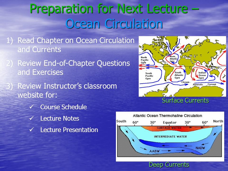 Preparation for Next Lecture – Ocean Circulation