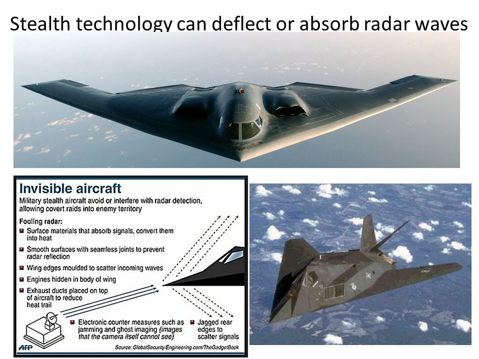 Stealth technology can deflect or absorb radar waves