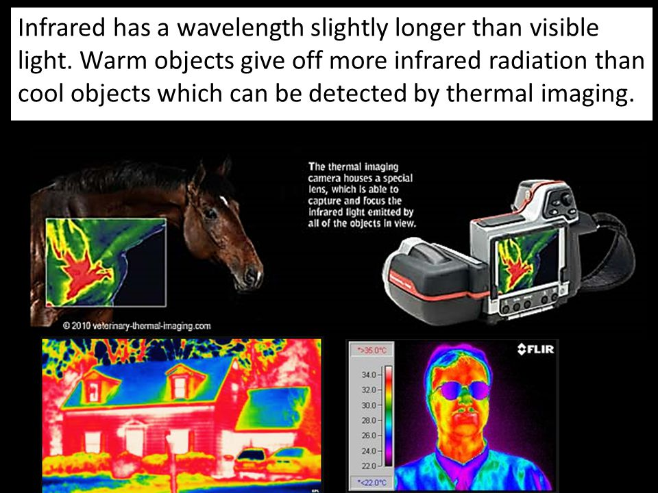 Infrared has a wavelength slightly longer than visible light