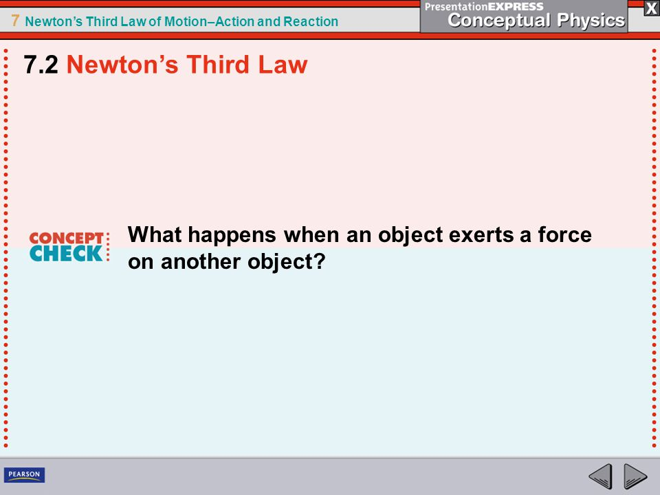 7.2 Newton's Third Law What happens when an object exerts a force on another object
