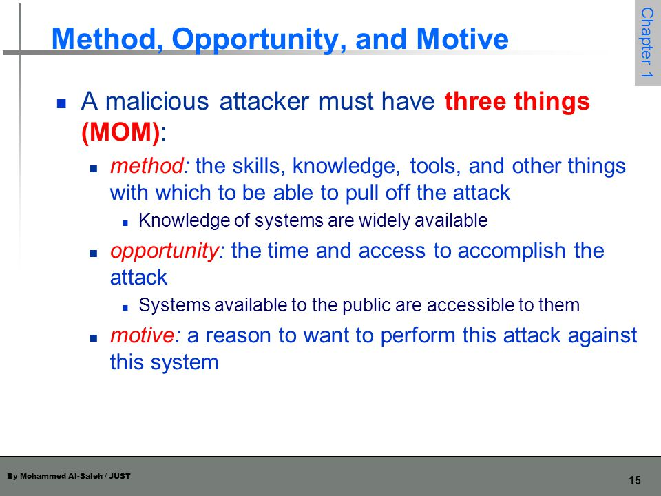 Method, Opportunity, and Motive