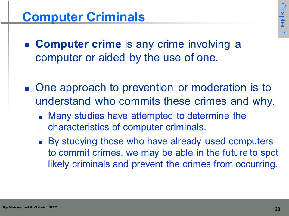 Computer Criminals Computer crime is any crime involving a computer or aided by the use of one.