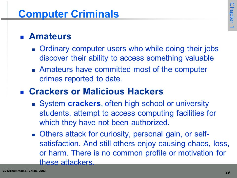 Computer Criminals Amateurs Crackers or Malicious Hackers