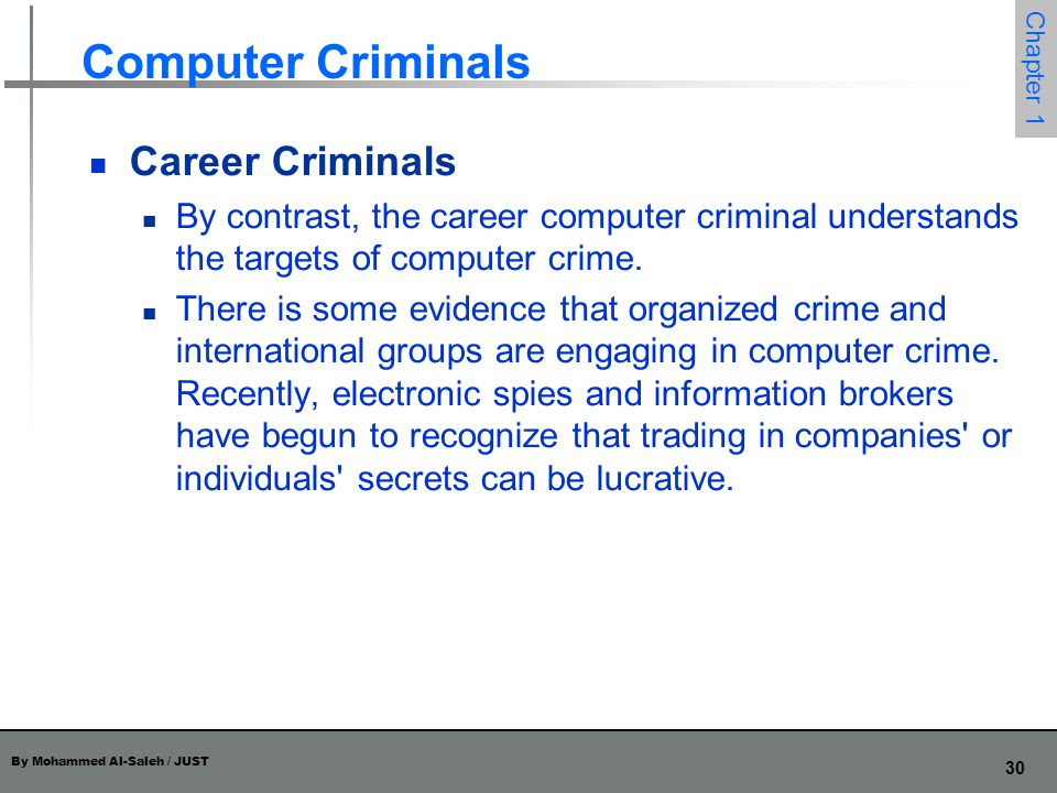 Computer Criminals Career Criminals
