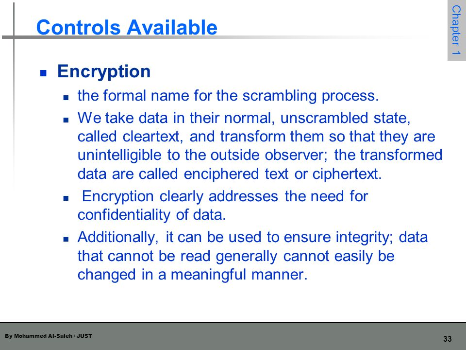 Controls Available Encryption