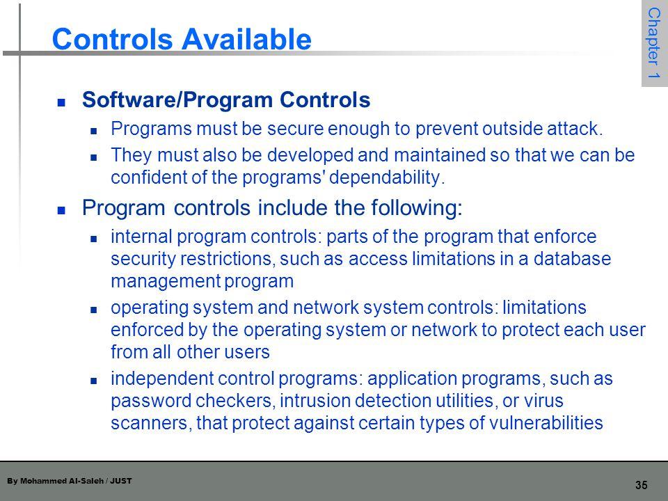 Controls Available Software/Program Controls