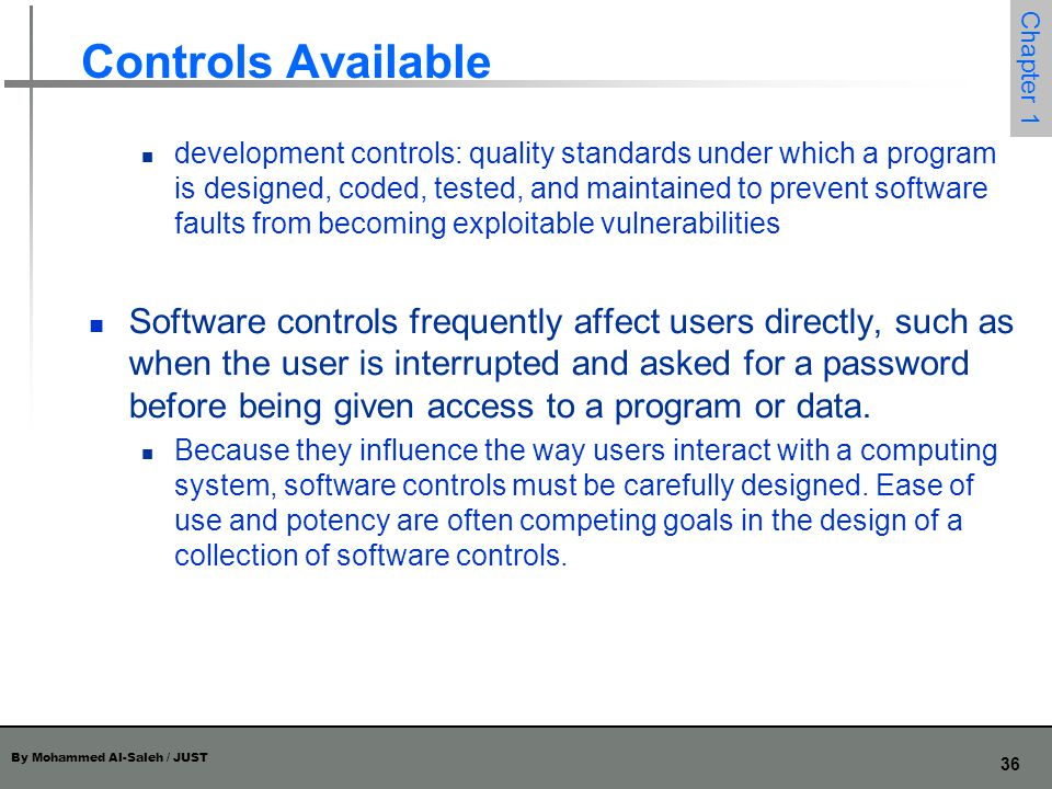 Controls Available