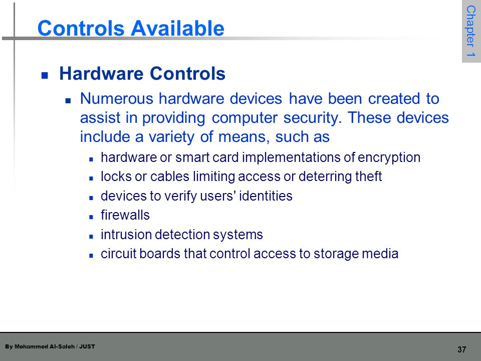 Controls Available Hardware Controls