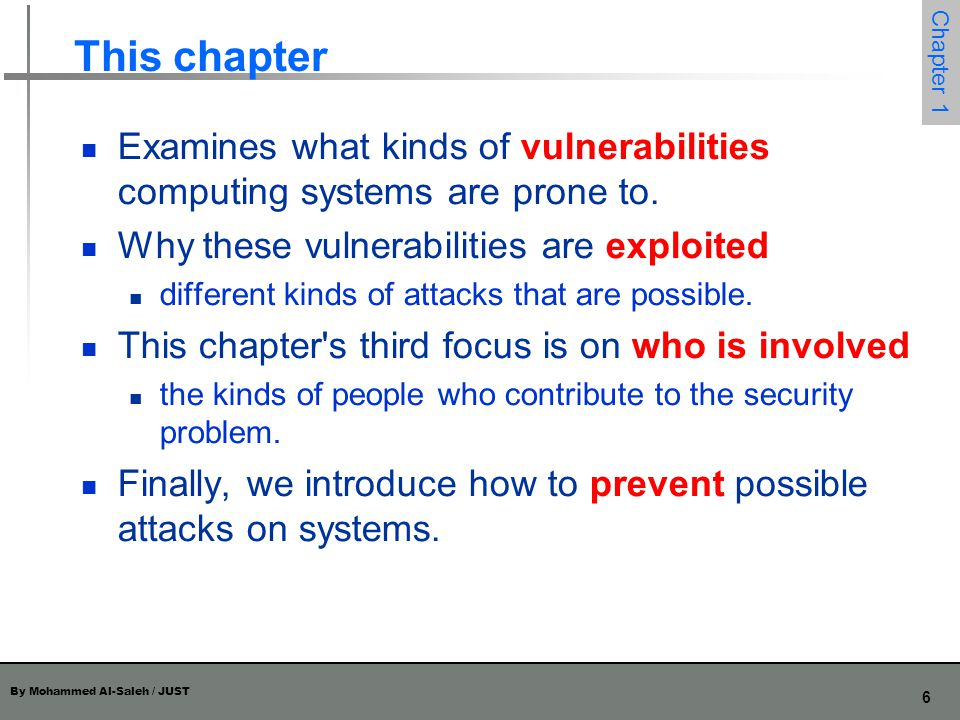 This chapter Examines what kinds of vulnerabilities computing systems are prone to. Why these vulnerabilities are exploited.