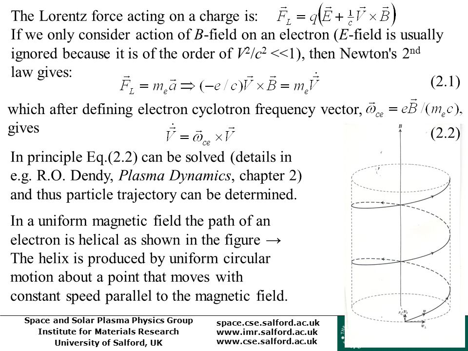 The Lorentz force acting on a charge is: