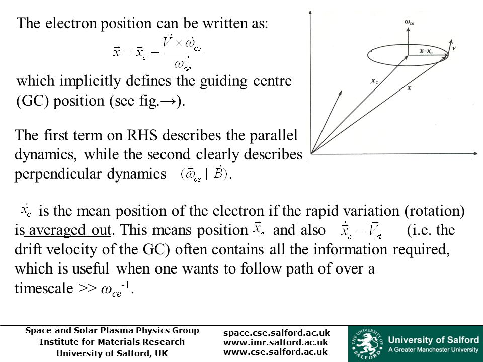 The electron position can be written as: