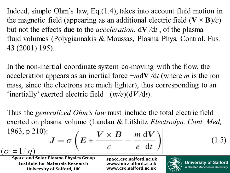 Indeed, simple Ohm's law, Eq. (1