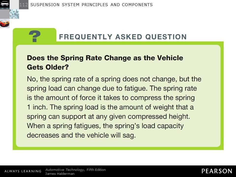 FREQUENTLY ASKED QUESTION: Does the Spring Rate Change as the Vehicle Gets Older No, the spring rate of a spring does not change, but the spring load can change due to fatigue. The spring rate is the amount of force it takes to compress the spring 1 inch. The spring load is the amount of weight that a spring can support at any given compressed height. When a spring fatigues, the spring's load capacity decreases and the vehicle will sag.
