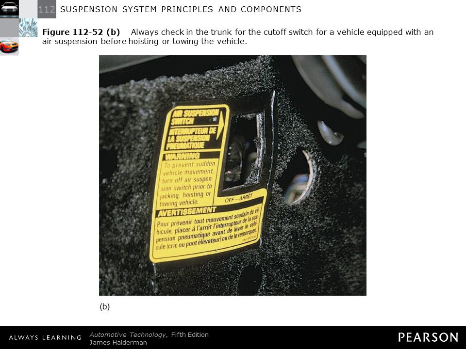 Figure 112-52 (b) Always check in the trunk for the cutoff switch for a vehicle equipped with an air suspension before hoisting or towing the vehicle.