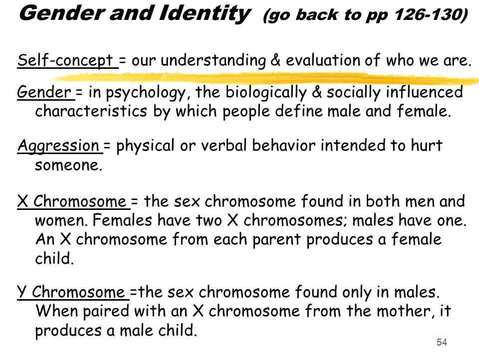 Gender and Identity (go back to pp 126-130)