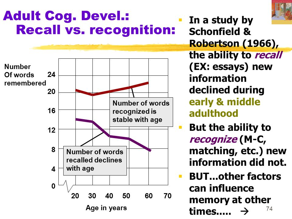 Adult Cog. Devel.: Recall vs. recognition: