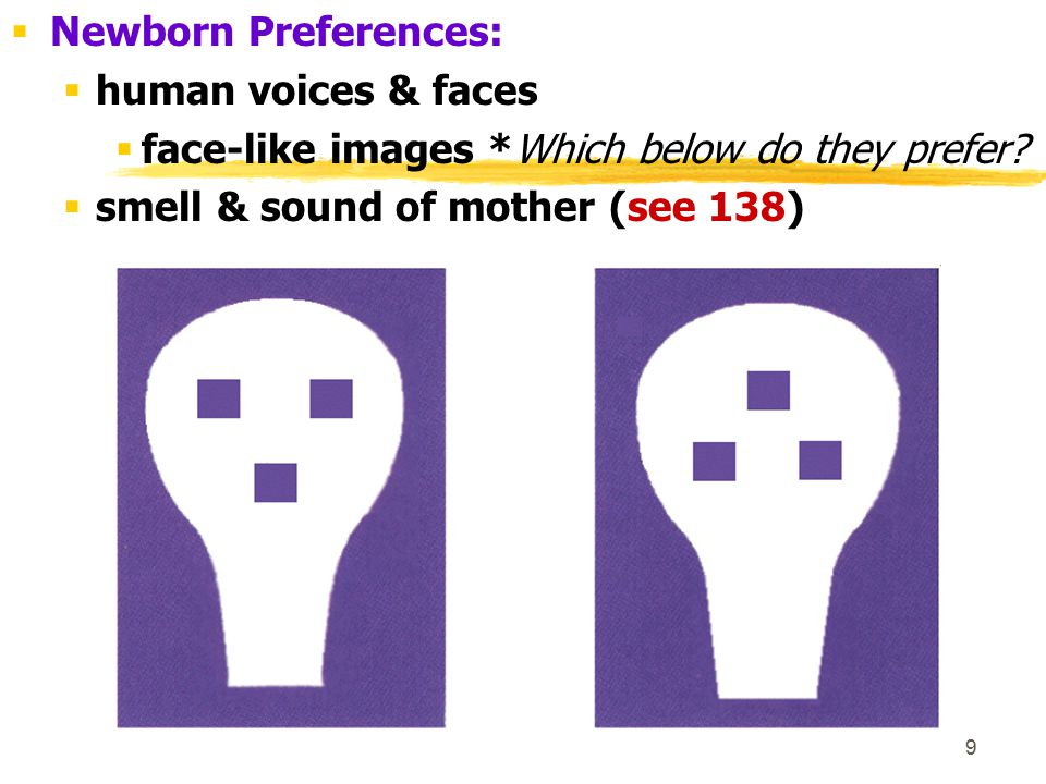 Newborn Preferences: human voices & faces. face-like images *Which below do they prefer.