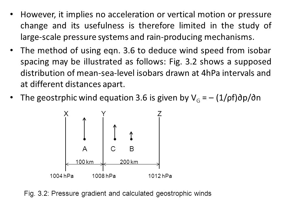 The geostrphic wind equation 3.6 is given by VG = – (1/ρf)∂p/∂n