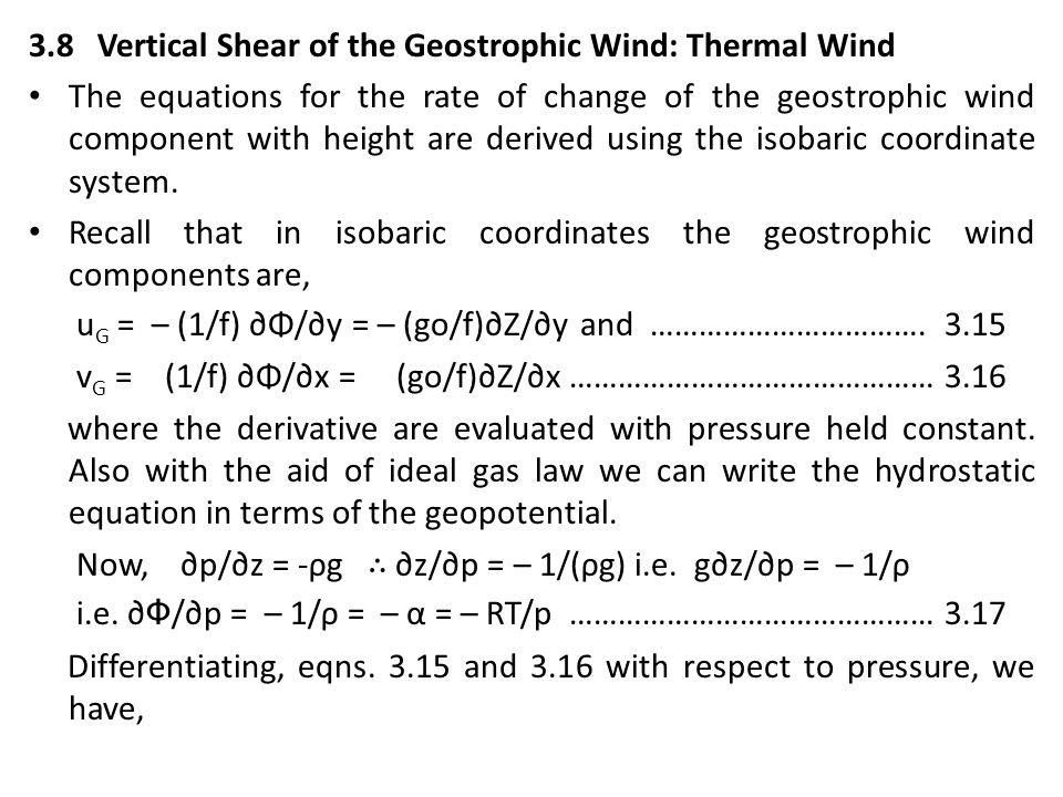 3.8 Vertical Shear of the Geostrophic Wind: Thermal Wind