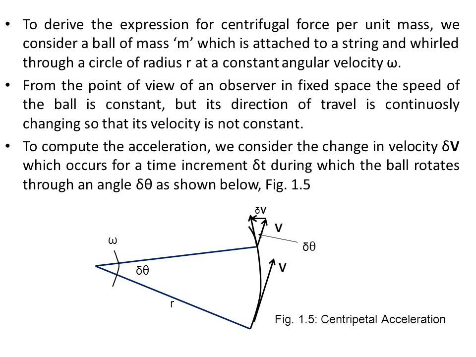 To derive the expression for centrifugal force per unit mass, we consider a ball of mass 'm' which is attached to a string and whirled through a circle of radius r at a constant angular velocity ω.