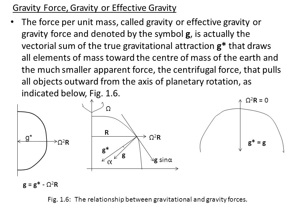 Gravity Force, Gravity or Effective Gravity