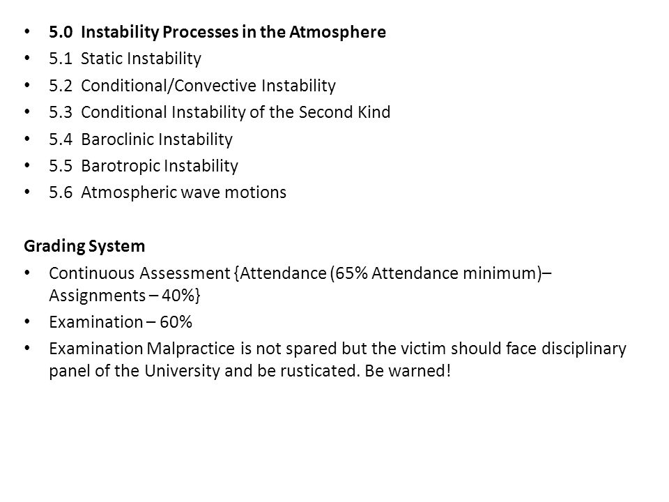 5.0 Instability Processes in the Atmosphere