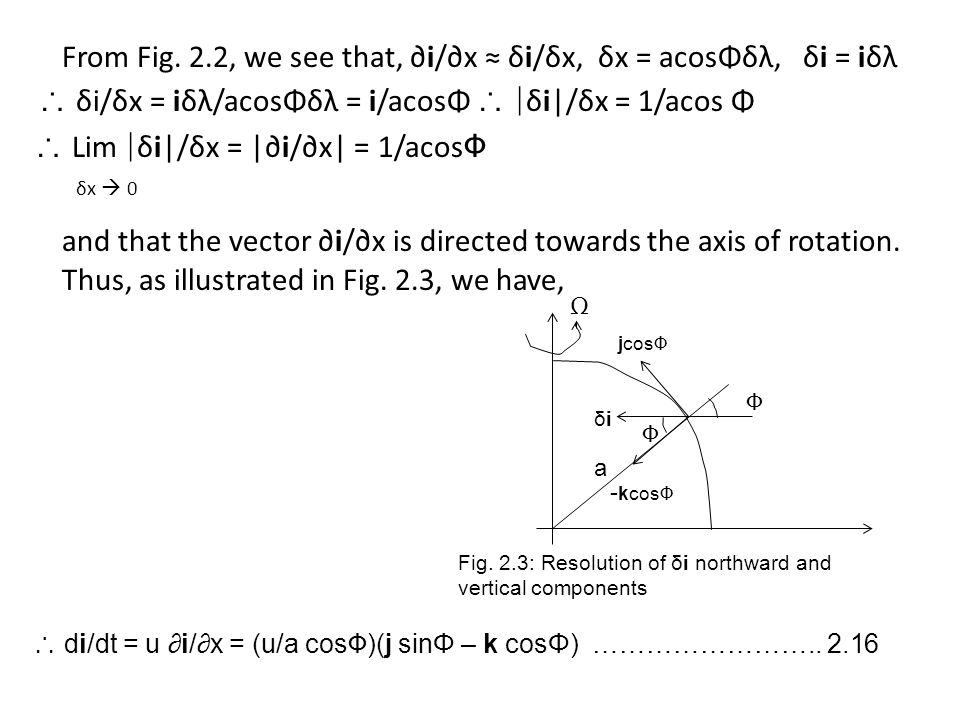 From Fig. 2.2, we see that, ∂i/∂x ≈ δi/δx, δx = acosΦδλ, δi = iδλ ∴ δi/δx = iδλ/acosΦδλ = i/acosΦ ∴ |δi|/δx = 1/acos Φ ∴ Lim |δi|/δx = |∂i/∂x| = 1/acosΦ δx  0 and that the vector ∂i/∂x is directed towards the axis of rotation. Thus, as illustrated in Fig. 2.3, we have,